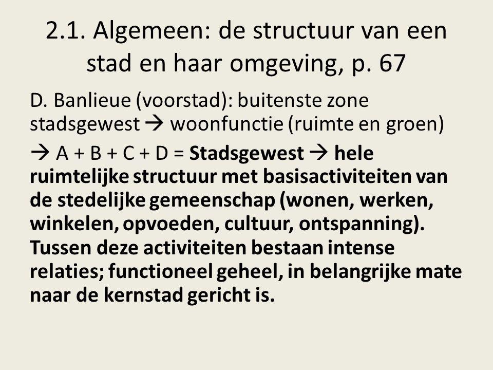 2.1. Algemeen: de structuur van een stad en haar omgeving, p. 67 D. Banlieue (voorstad): buitenste zone stadsgewest  woonfunctie (ruimte en groen) 
