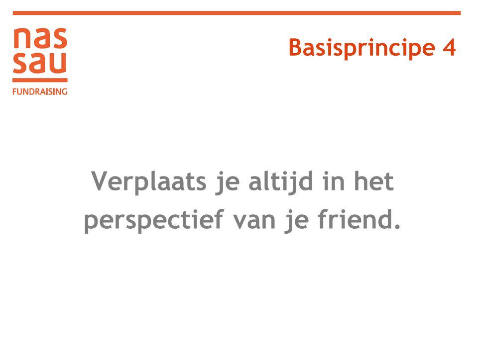 Verplaats je altijd in het perspectief van je friend. Basisprincipe 4