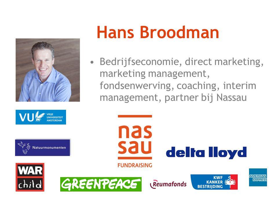 Hans Broodman Bedrijfseconomie, direct marketing, marketing management, fondsenwerving, coaching, interim management, partner bij Nassau