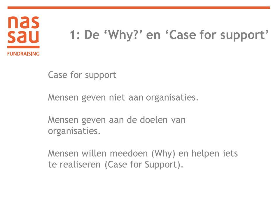 1: De 'Why?' en 'Case for support' Case for support Mensen geven niet aan organisaties. Mensen geven aan de doelen van organisaties. Mensen willen mee