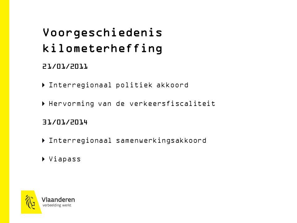 Voorgeschiedenis kilometerheffing 21/01/2011 Interregionaal politiek akkoord Hervorming van de verkeersfiscaliteit 31/01/2014 Interregionaal samenwerkingsakkoord Viapass