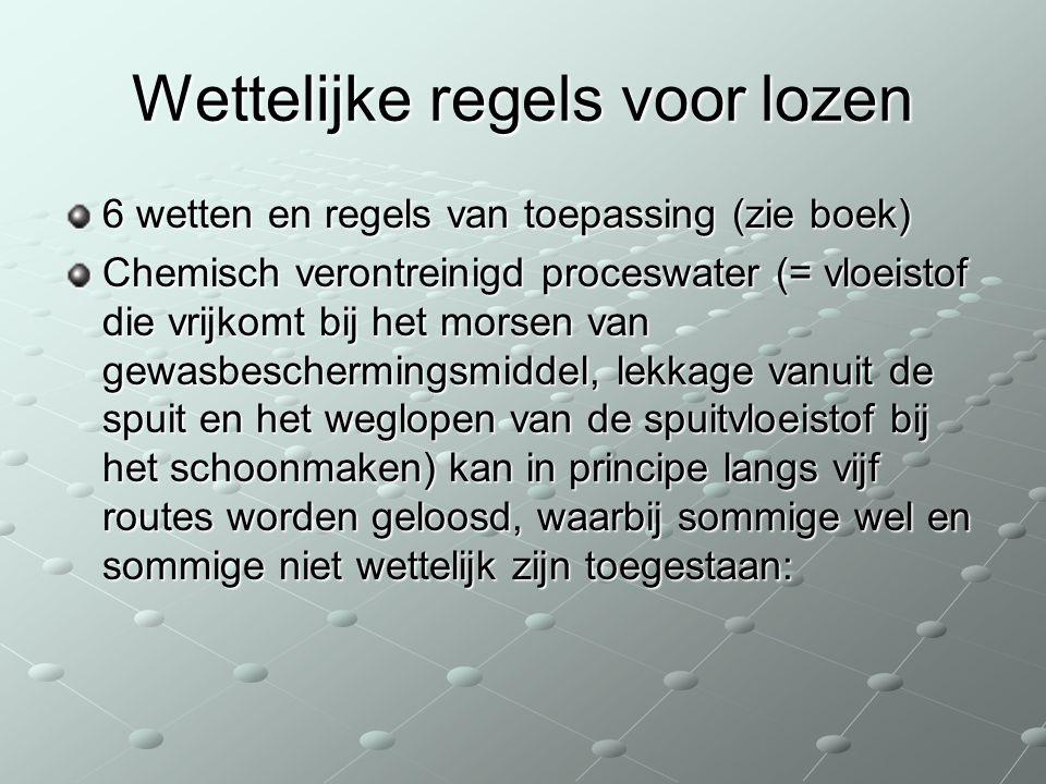 Wettelijke regels voor lozen 6 wetten en regels van toepassing (zie boek) Chemisch verontreinigd proceswater (= vloeistof die vrijkomt bij het morsen