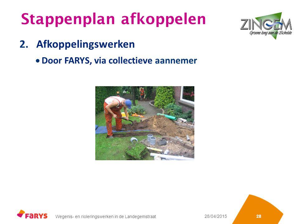 Sectienummering of iets anders Wegenis- en rioleringswerken in de Landegemstraat 28/04/2015 28 Stappenplan afkoppelen 2.Afkoppelingswerken  Door FARYS, via collectieve aannemer