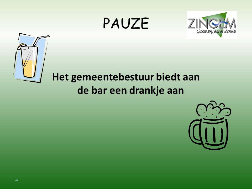 44 PAUZE Het gemeentebestuur biedt aan de bar een drankje aan