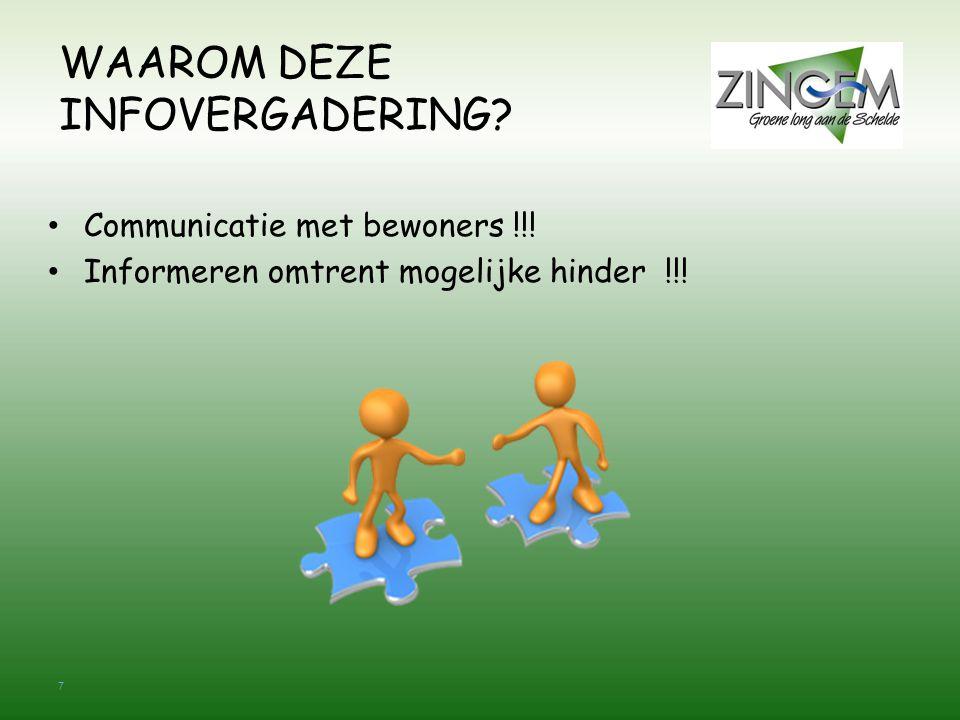 7 WAAROM DEZE INFOVERGADERING. Communicatie met bewoners !!.