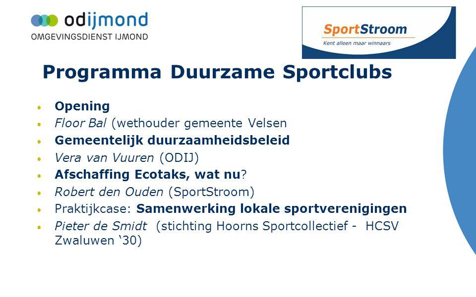 Programma Duurzame Sportclubs Opening Floor Bal (wethouder gemeente Velsen Gemeentelijk duurzaamheidsbeleid Vera van Vuuren (ODIJ) Afschaffing Ecotaks