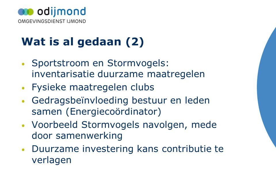 Wat is al gedaan (2) Sportstroom en Stormvogels: inventarisatie duurzame maatregelen Fysieke maatregelen clubs Gedragsbeïnvloeding bestuur en leden sa