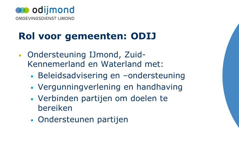 Rol voor gemeenten: ODIJ Ondersteuning IJmond, Zuid- Kennemerland en Waterland met: Beleidsadvisering en –ondersteuning Vergunningverlening en handhav