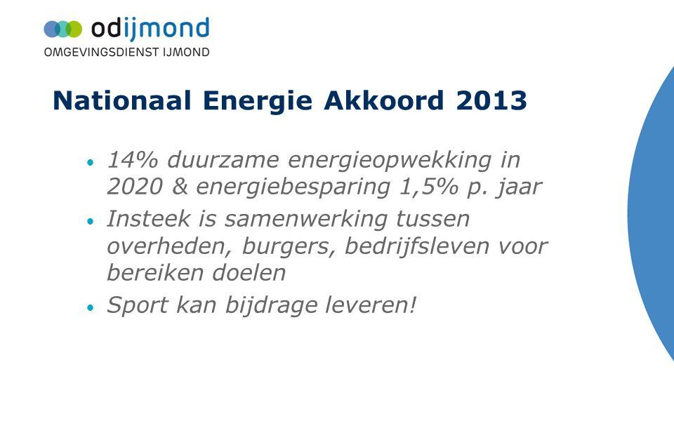 Nationaal Energie Akkoord 2013 14% duurzame energieopwekking in 2020 & energiebesparing 1,5% p. jaar Insteek is samenwerking tussen overheden, burgers