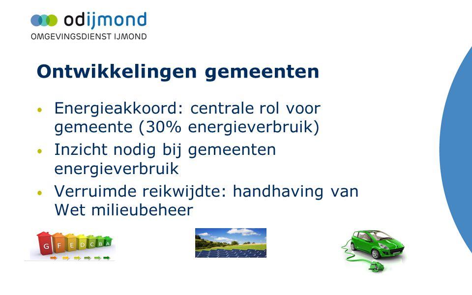 Ontwikkelingen gemeenten Energieakkoord: centrale rol voor gemeente (30% energieverbruik) Inzicht nodig bij gemeenten energieverbruik Verruimde reikwi