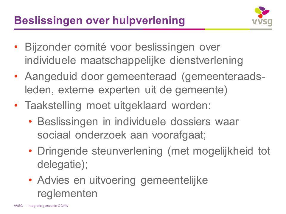 VVSG - Beslissingen over hulpverlening Bijzonder comité voor beslissingen over individuele maatschappelijke dienstverlening Aangeduid door gemeenteraa