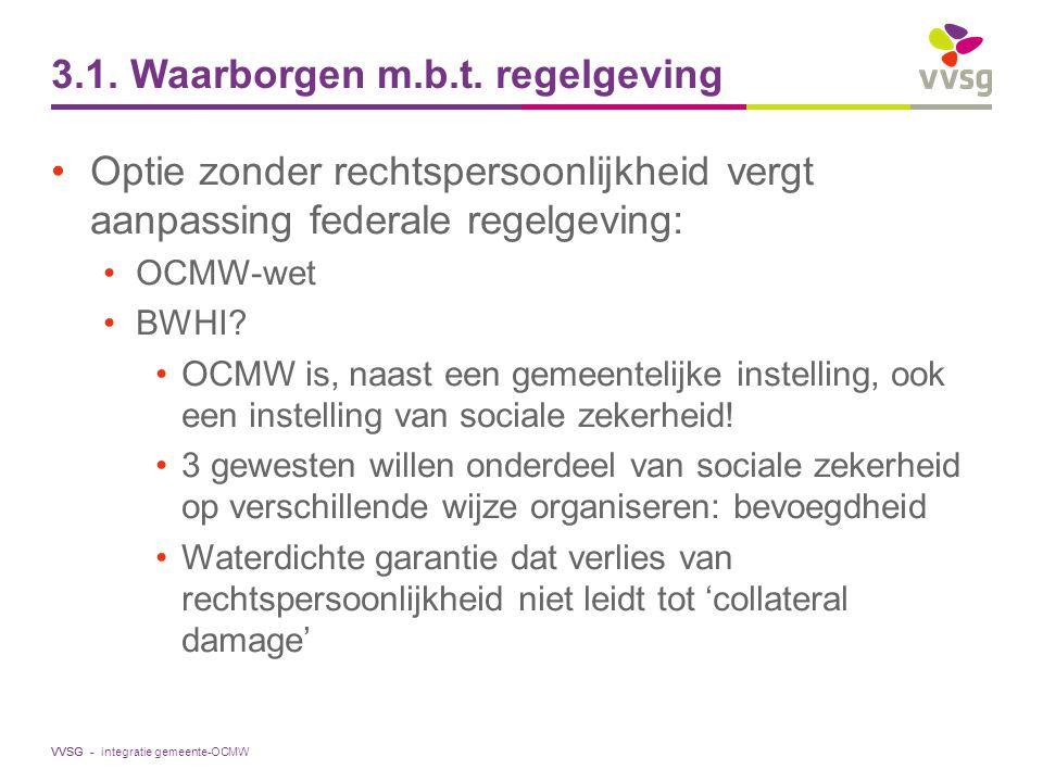 VVSG - 3.1. Waarborgen m.b.t. regelgeving Optie zonder rechtspersoonlijkheid vergt aanpassing federale regelgeving: OCMW-wet BWHI? OCMW is, naast een