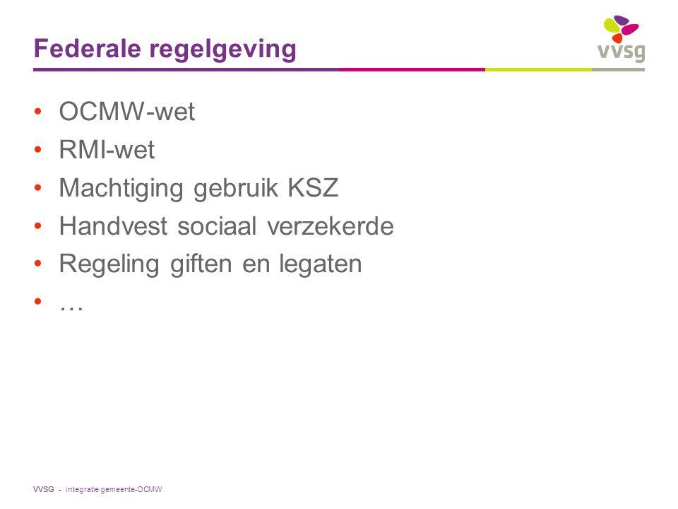 VVSG - Federale regelgeving OCMW-wet RMI-wet Machtiging gebruik KSZ Handvest sociaal verzekerde Regeling giften en legaten … integratie gemeente-OCMW