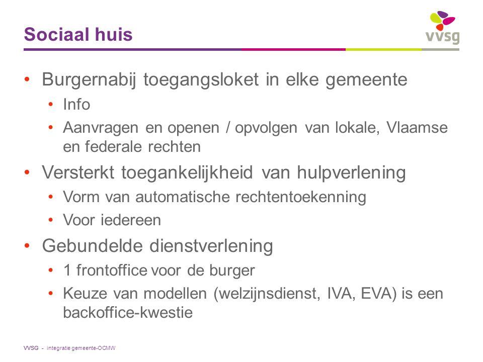 VVSG - Sociaal huis Burgernabij toegangsloket in elke gemeente Info Aanvragen en openen / opvolgen van lokale, Vlaamse en federale rechten Versterkt t