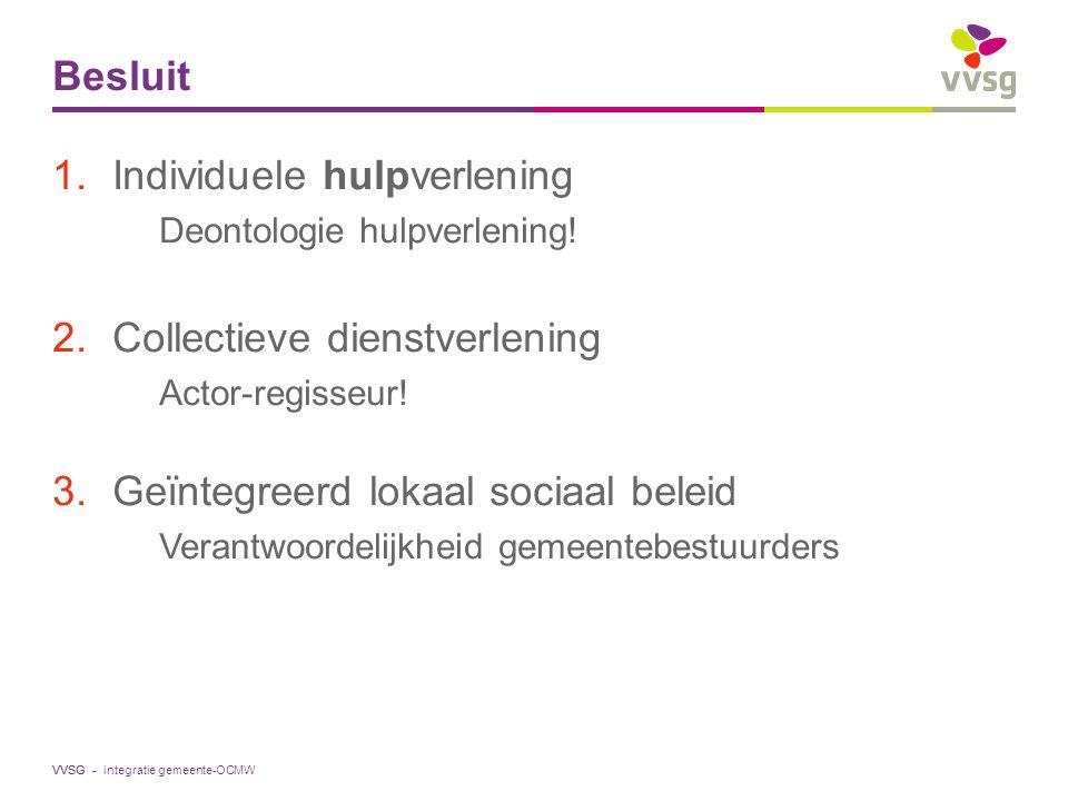 VVSG - Besluit 1.Individuele hulpverlening Deontologie hulpverlening! 2.Collectieve dienstverlening Actor-regisseur! 3.Geïntegreerd lokaal sociaal bel
