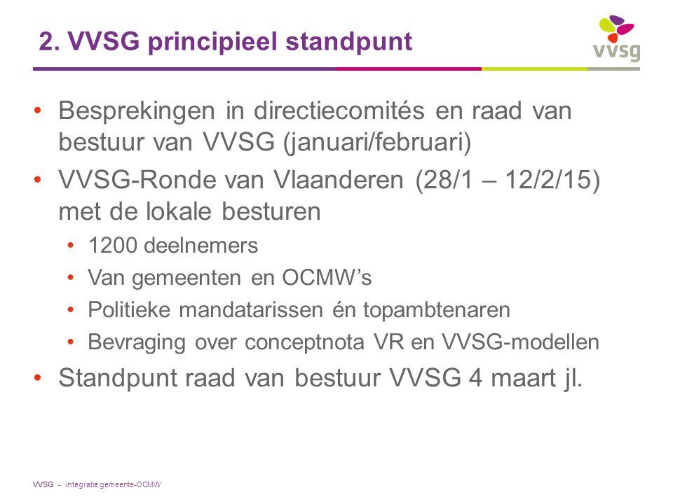 VVSG - 2. VVSG principieel standpunt Besprekingen in directiecomités en raad van bestuur van VVSG (januari/februari) VVSG-Ronde van Vlaanderen (28/1 –