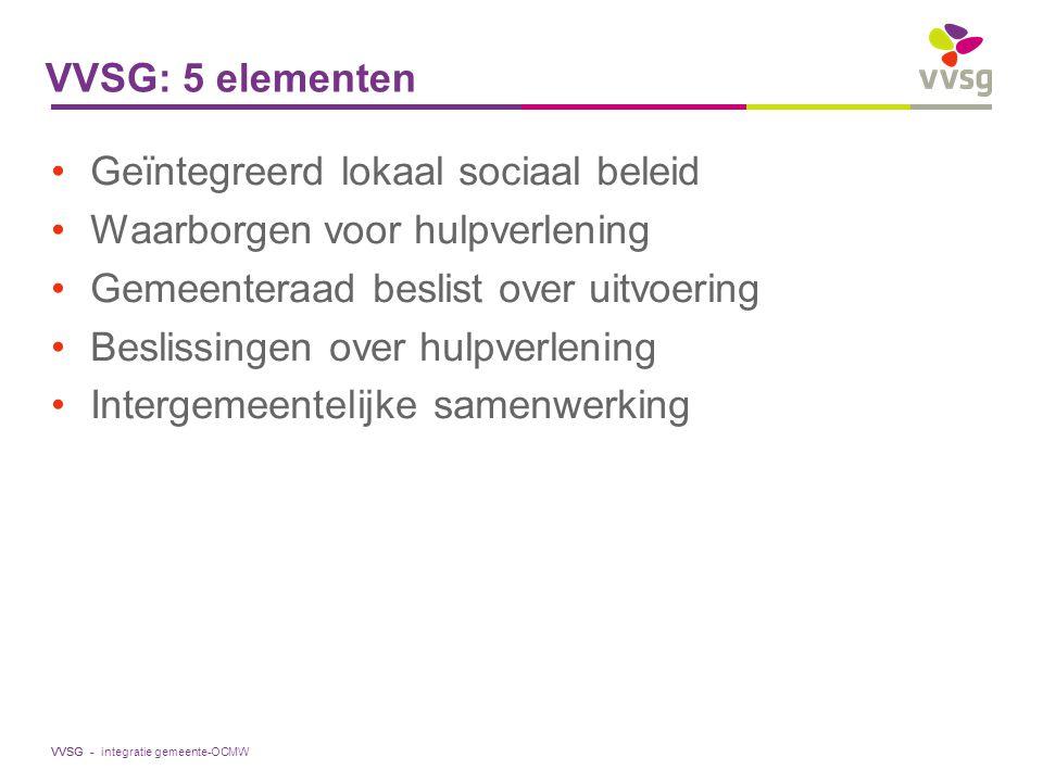VVSG - VVSG: 5 elementen Geïntegreerd lokaal sociaal beleid Waarborgen voor hulpverlening Gemeenteraad beslist over uitvoering Beslissingen over hulpv