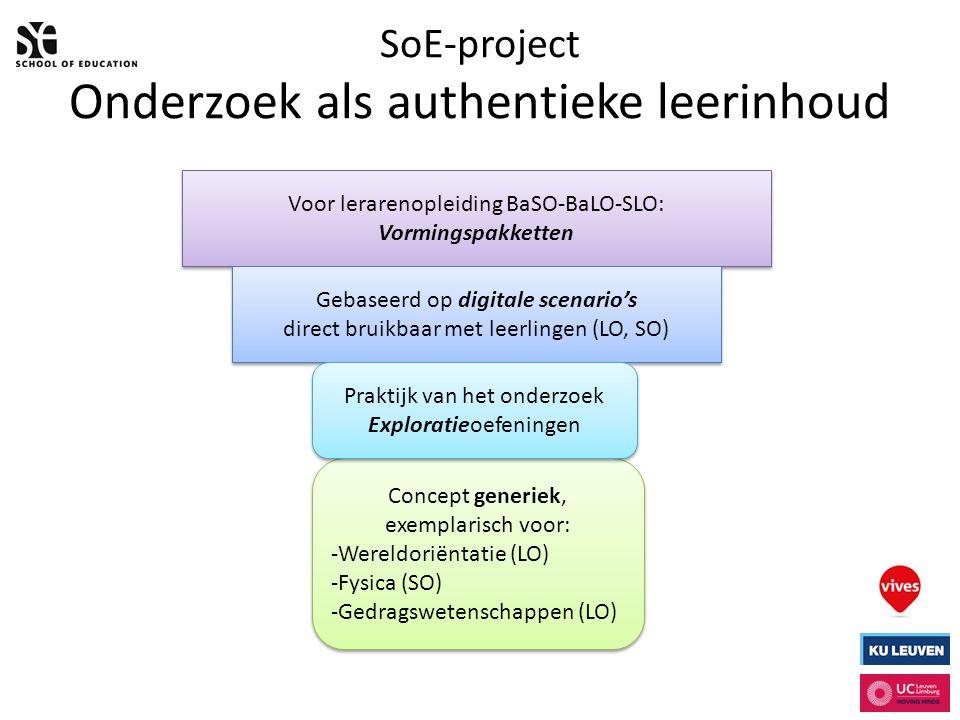SoE-project Onderzoek als authentieke leerinhoud Voor lerarenopleiding BaSO-BaLO-SLO: Vormingspakketten Gebaseerd op digitale scenario's direct bruikbaar met leerlingen (LO, SO) Gebaseerd op digitale scenario's direct bruikbaar met leerlingen (LO, SO) Concept generiek, exemplarisch voor: -Wereldoriëntatie (LO) -Fysica (SO) -Gedragswetenschappen (LO) Concept generiek, exemplarisch voor: -Wereldoriëntatie (LO) -Fysica (SO) -Gedragswetenschappen (LO) Praktijk van het onderzoek Exploratieoefeningen Praktijk van het onderzoek Exploratieoefeningen