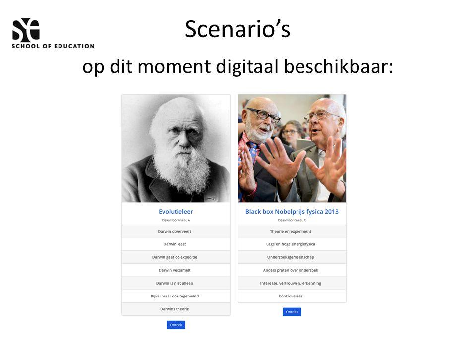 Scenario's op dit moment digitaal beschikbaar: