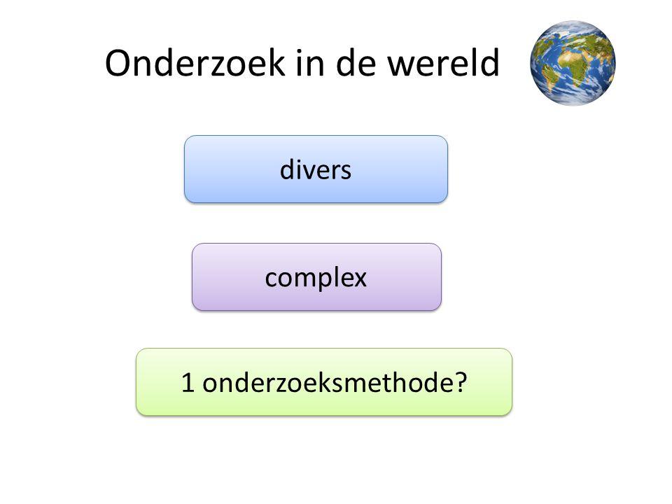 Onderzoek in de wereld divers complex 1 onderzoeksmethode?