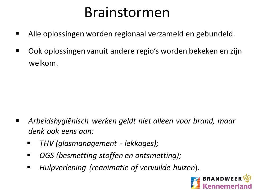 Brainstormen  Alle oplossingen worden regionaal verzameld en gebundeld.  Ook oplossingen vanuit andere regio's worden bekeken en zijn welkom.  Arbe