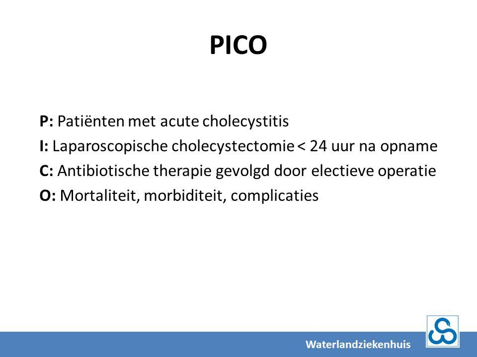 PICO P: Patiënten met acute cholecystitis I: Laparoscopische cholecystectomie < 24 uur na opname C: Antibiotische therapie gevolgd door electieve operatie O: Mortaliteit, morbiditeit, complicaties Waterlandziekenhuis