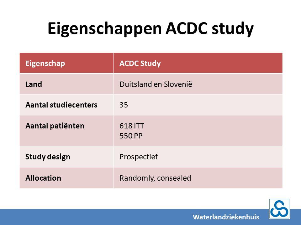 Eigenschappen ACDC study EigenschapACDC Study LandDuitsland en Slovenië Aantal studiecenters35 Aantal patiënten618 ITT 550 PP Study designProspectief AllocationRandomly, consealed Waterlandziekenhuis