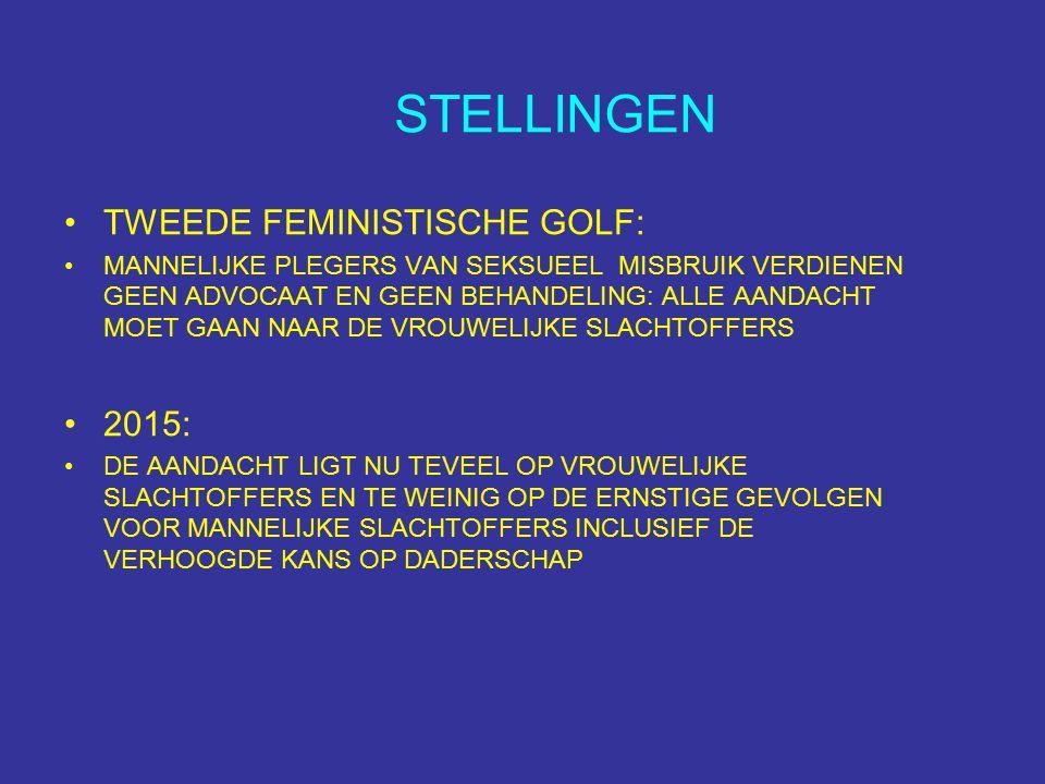 STELLINGEN TWEEDE FEMINISTISCHE GOLF: MANNELIJKE PLEGERS VAN SEKSUEEL MISBRUIK VERDIENEN GEEN ADVOCAAT EN GEEN BEHANDELING: ALLE AANDACHT MOET GAAN NAAR DE VROUWELIJKE SLACHTOFFERS 2015: DE AANDACHT LIGT NU TEVEEL OP VROUWELIJKE SLACHTOFFERS EN TE WEINIG OP DE ERNSTIGE GEVOLGEN VOOR MANNELIJKE SLACHTOFFERS INCLUSIEF DE VERHOOGDE KANS OP DADERSCHAP