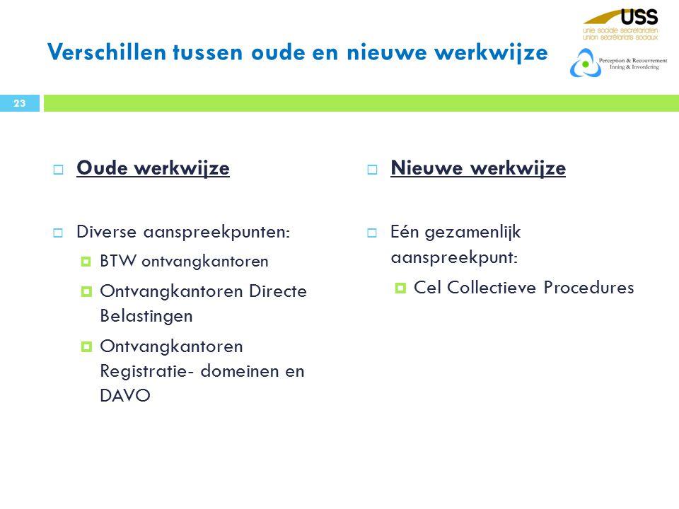 Verschillen tussen oude en nieuwe werkwijze  Oude werkwijze  Diverse aanspreekpunten:  BTW ontvangkantoren  Ontvangkantoren Directe Belastingen 