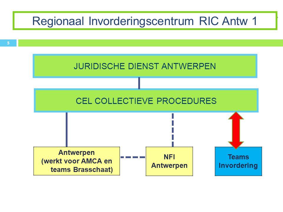 CEL COLLECTIEVE PROCEDURES Regionaal Invorderingscentrum RIC Antw 1 5 Antwerpen (werkt voor AMCA en teams Brasschaat) NFI Antwerpen JURIDISCHE DIENST ANTWERPEN Teams Invordering