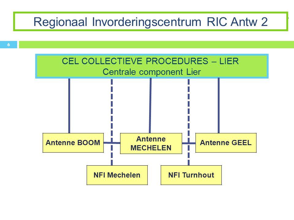CEL COLLECTIEVE PROCEDURES – LIER Centrale component Lier Regionaal Invorderingscentrum RIC Antw 2 6 Antenne GEEL Antenne BOOM Antenne MECHELEN NFI Me