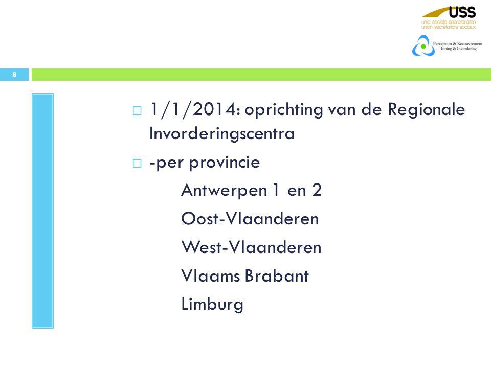  1/1/2014: oprichting van de Regionale Invorderingscentra  -per provincie Antwerpen 1 en 2 Oost-Vlaanderen West-Vlaanderen Vlaams Brabant Limburg 8
