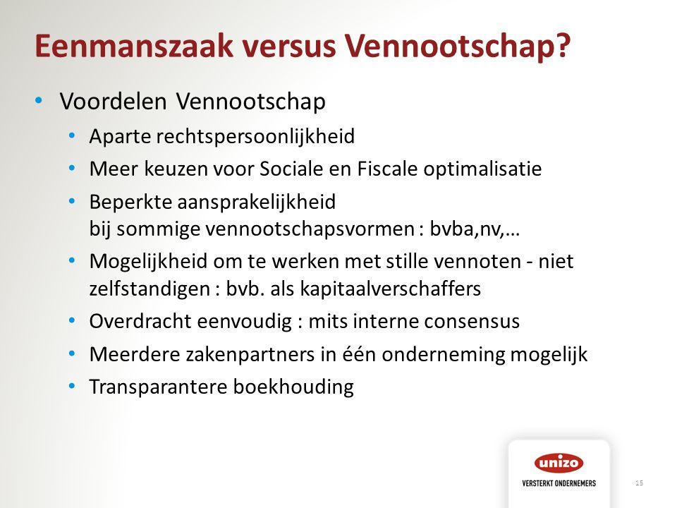 Eenmanszaak versus Vennootschap? Voordelen Vennootschap Aparte rechtspersoonlijkheid Meer keuzen voor Sociale en Fiscale optimalisatie Beperkte aanspr