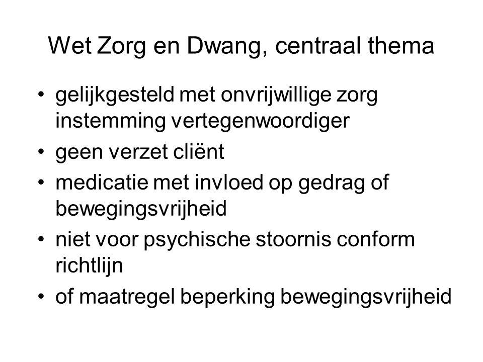 Wet Zorg en Dwang, centraal thema gelijkgesteld met onvrijwillige zorg instemming vertegenwoordiger geen verzet cliënt medicatie met invloed op gedrag