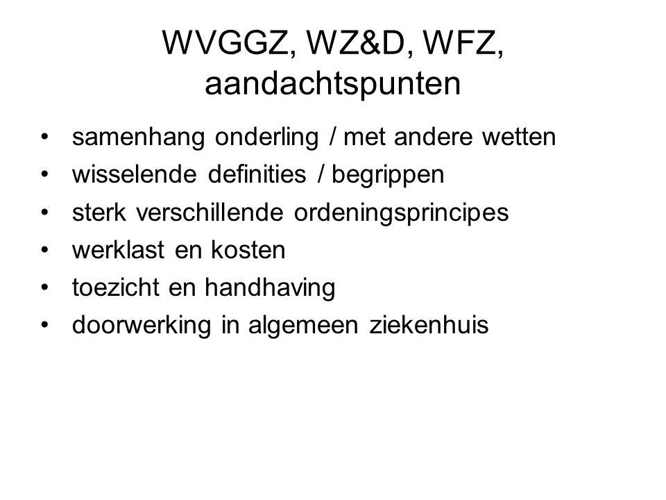 WVGGZ, WZ&D, WFZ, aandachtspunten samenhang onderling / met andere wetten wisselende definities / begrippen sterk verschillende ordeningsprincipes wer