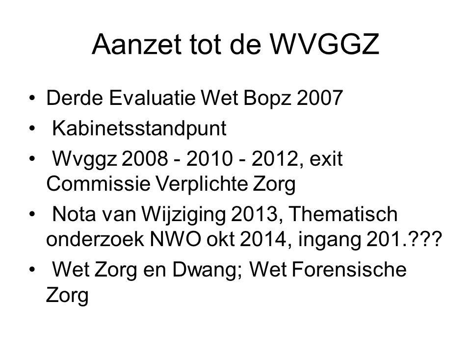 Wet Zorg en Dwang, achtergrond Tweede Evaluatie Wet Bopz Algemene Rekenkamer Bopz past niet bij de doelgroepen beperkte reikwijdte Bopz moeizame parlementaire behandeling wel / niet samengaan met WVGGZ?