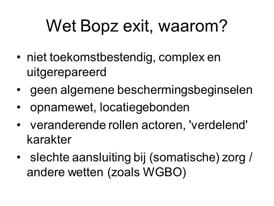 Wet Bopz exit, waarom? niet toekomstbestendig, complex en uitgerepareerd geen algemene beschermingsbeginselen opnamewet, locatiegebonden veranderende