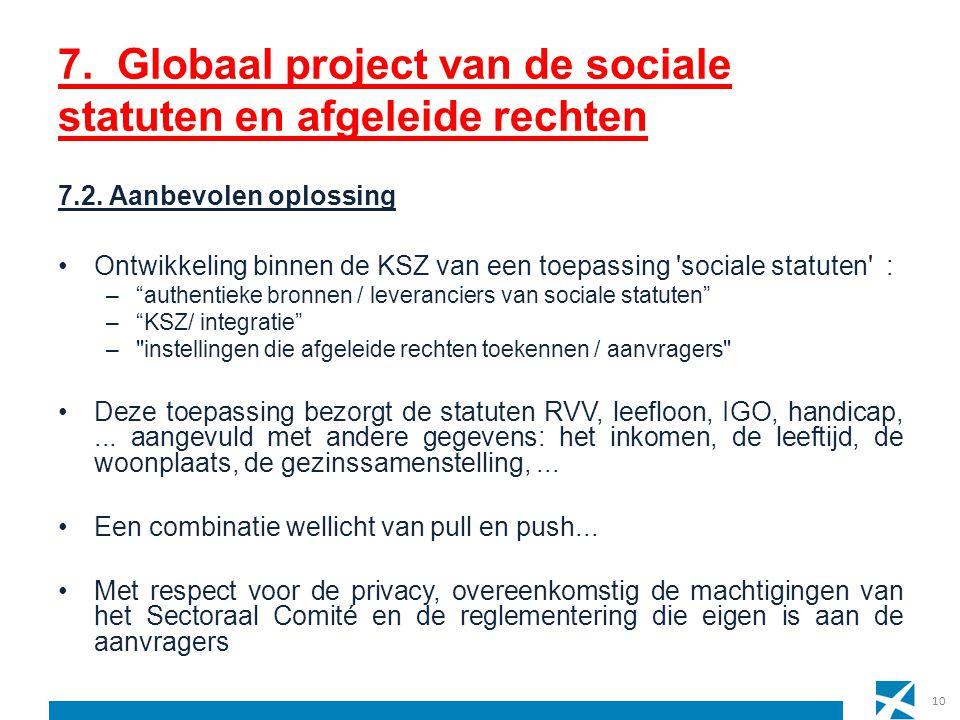 10 7. Globaal project van de sociale statuten en afgeleide rechten 7.2. Aanbevolen oplossing Ontwikkeling binnen de KSZ van een toepassing 'sociale st
