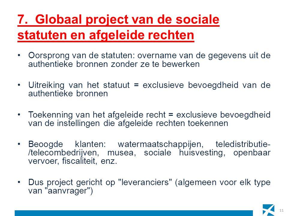 7. Globaal project van de sociale statuten en afgeleide rechten Oorsprong van de statuten: overname van de gegevens uit de authentieke bronnen zonder