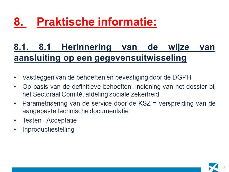 8. Praktische informatie: 13 8.1. 8.1 Herinnering van de wijze van aansluiting op een gegevensuitwisseling Vastleggen van de behoeften en bevestiging