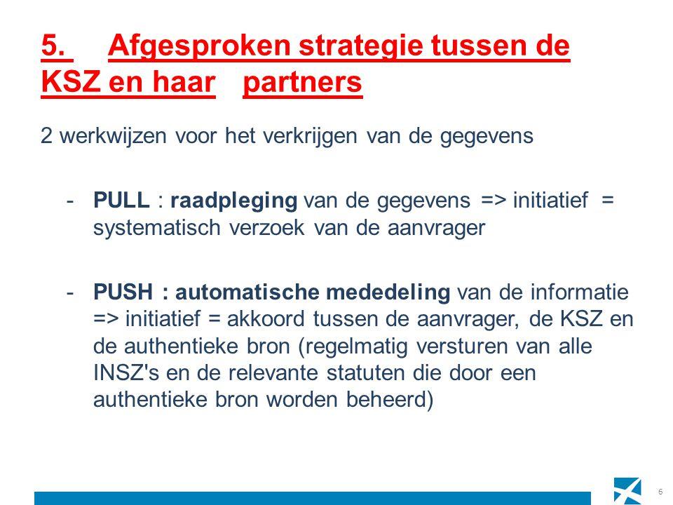 5. Afgesproken strategie tussen de KSZ en haarpartners 2 werkwijzen voor het verkrijgen van de gegevens -PULL : raadpleging van de gegevens => initiat