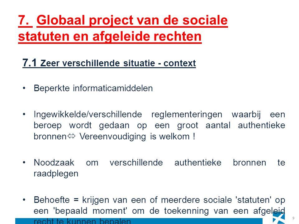 7. Globaal project van de sociale statuten en afgeleide rechten 9 7.1 Zeer verschillende situatie - context Beperkte informaticamiddelen Ingewikkelde/