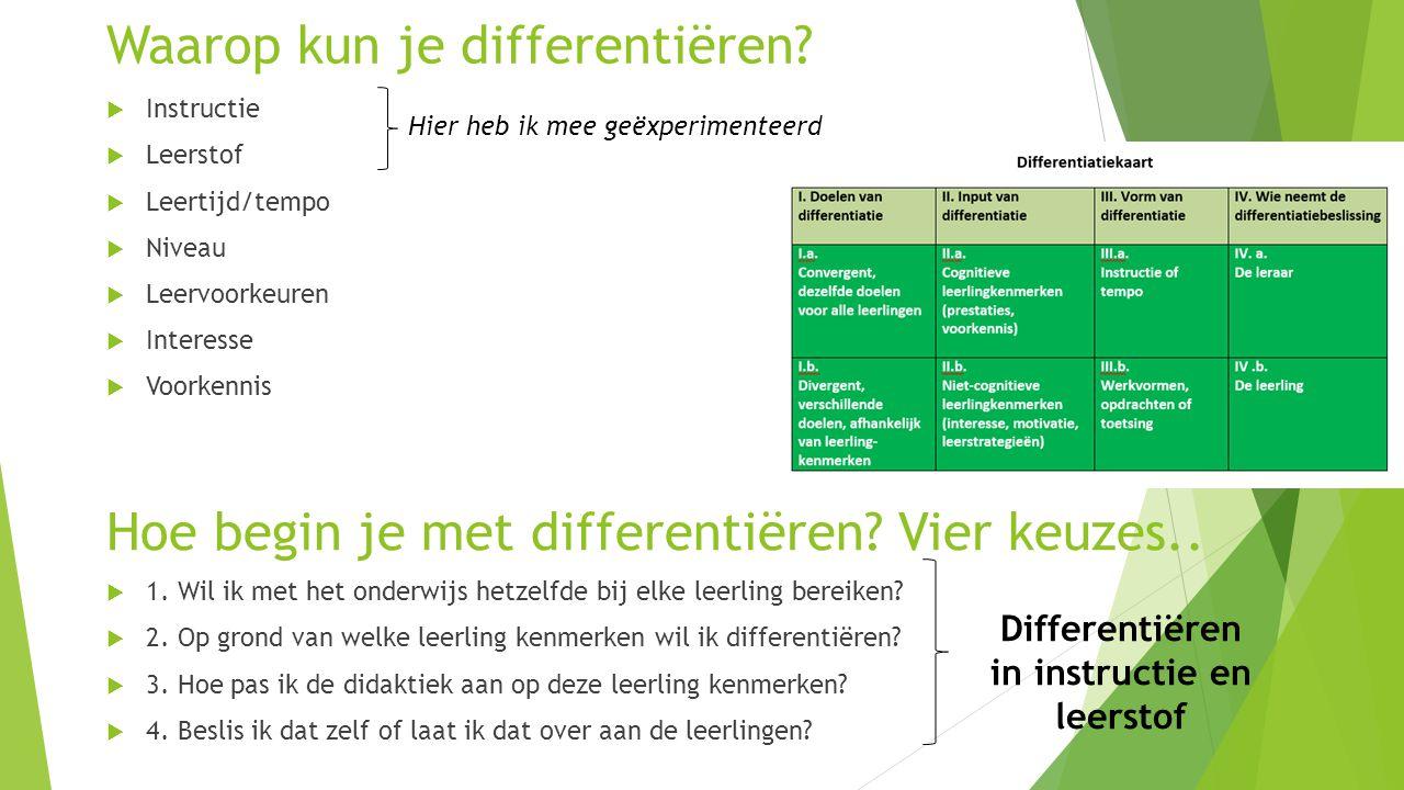 Hoe begin je met differentiëren? Vier keuzes..  1. Wil ik met het onderwijs hetzelfde bij elke leerling bereiken?  2. Op grond van welke leerling ke