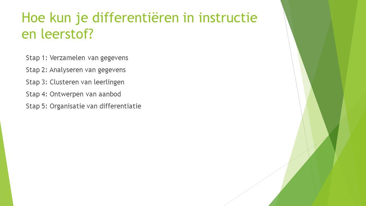 Hoe kun je differentiëren in instructie en leerstof? Stap 1: Verzamelen van gegevens Stap 2: Analyseren van gegevens Stap 3: Clusteren van leerlingen