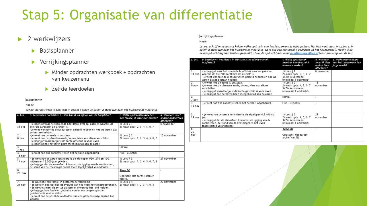 Stap 5: Organisatie van differentiatie  2 werkwijzers  Basisplanner  Verrijkingsplanner  Minder opdrachten werkboek + opdrachten van keuzemenu  Z