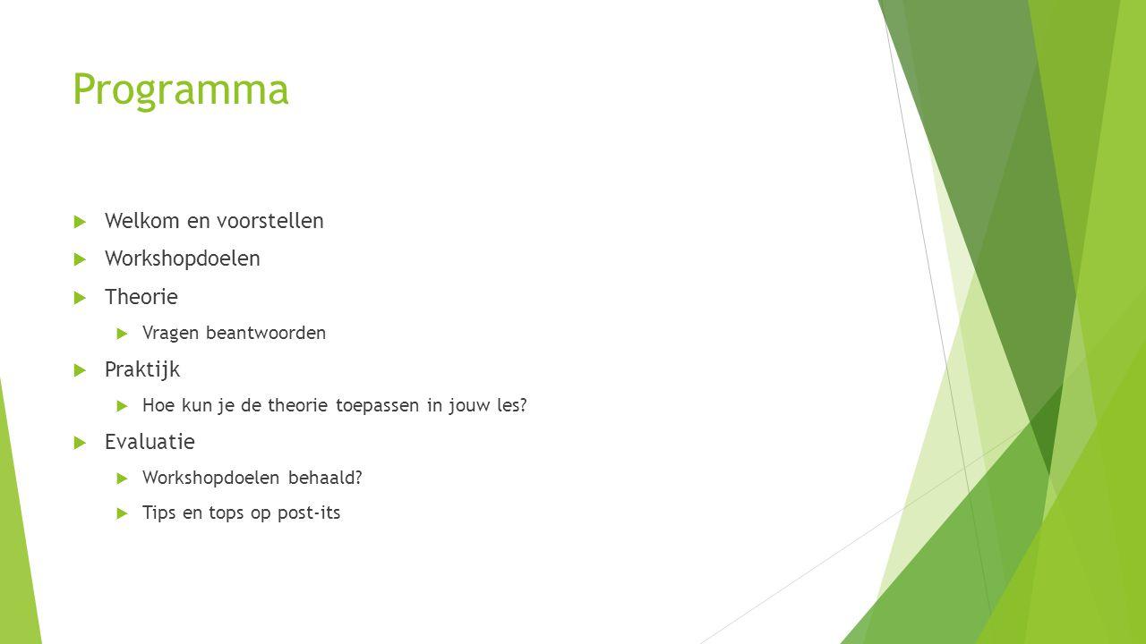 Programma  Welkom en voorstellen  Workshopdoelen  Theorie  Vragen beantwoorden  Praktijk  Hoe kun je de theorie toepassen in jouw les?  Evaluat