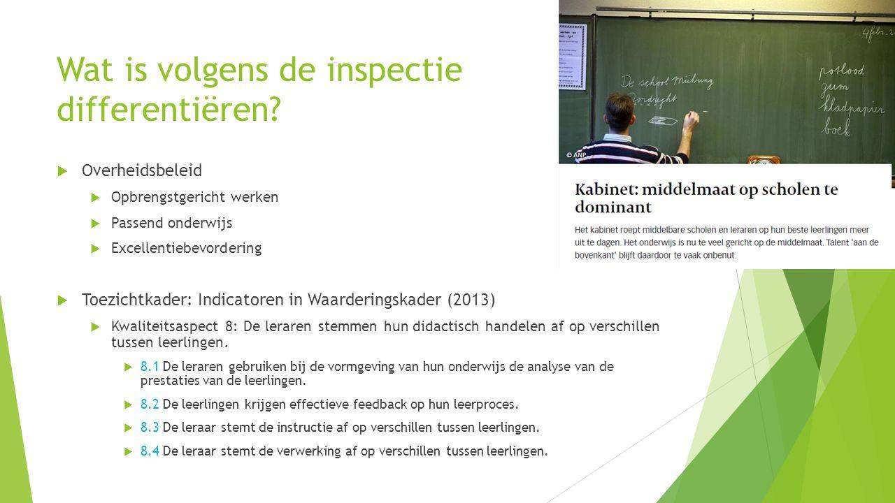 Wat is volgens de inspectie differentiëren?  Overheidsbeleid  Opbrengstgericht werken  Passend onderwijs  Excellentiebevordering  Toezichtkader: