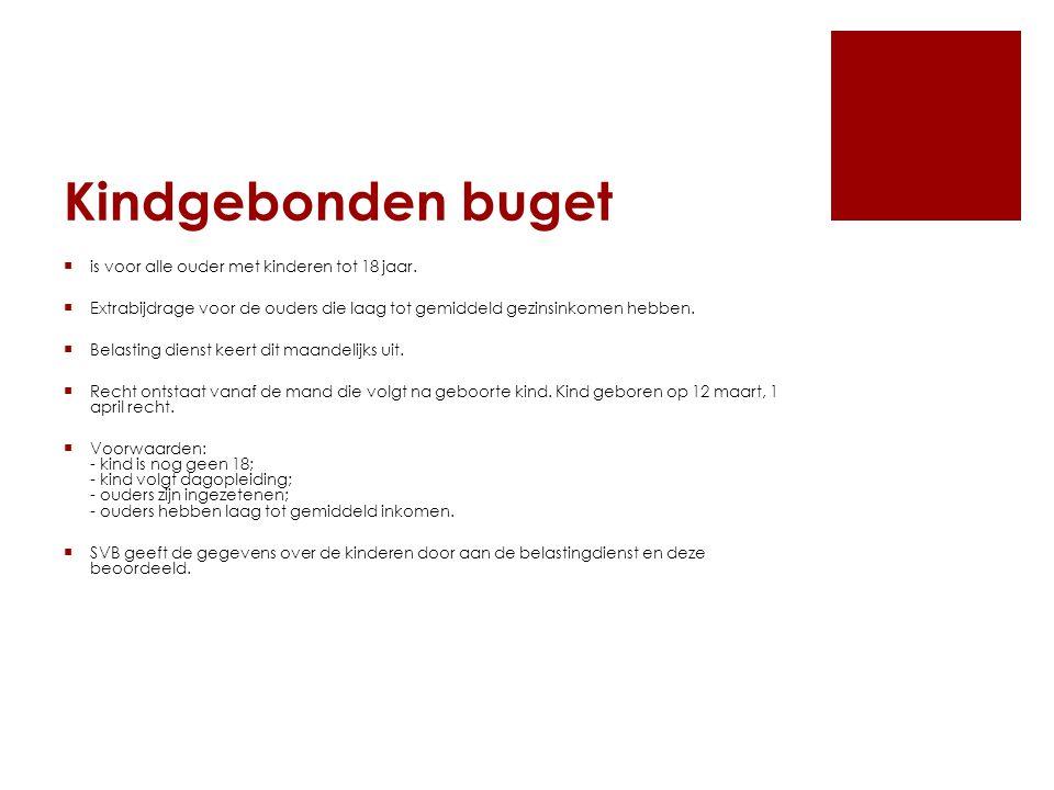 Kindgebonden buget  is voor alle ouder met kinderen tot 18 jaar.