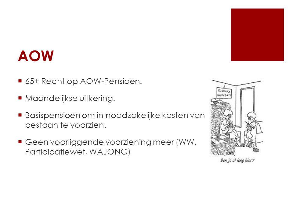 AOW  65+ Recht op AOW-Pensioen.  Maandelijkse uitkering.