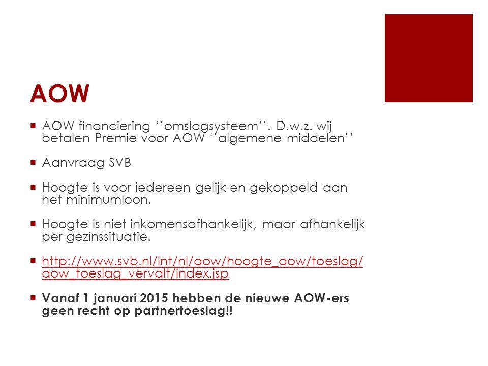 AOW  AOW financiering ''omslagsysteem''. D.w.z.